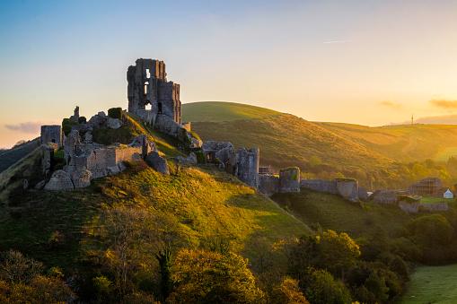 Dawn At Corfe Castle In Dorset