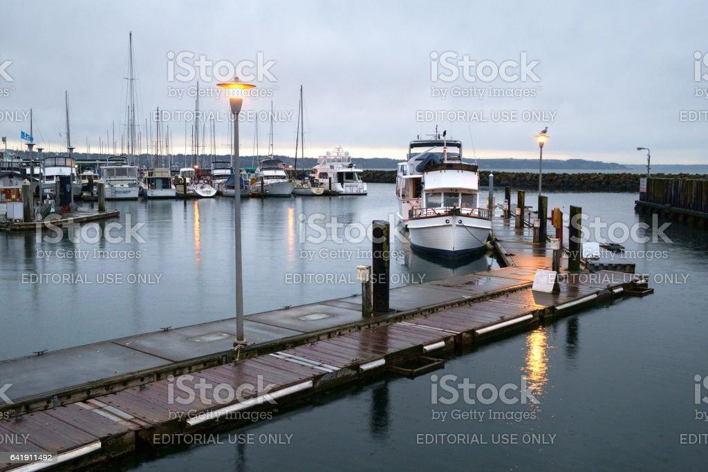 Dawn at Des Moines marina stock photo