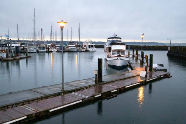Dawn at Des Moines marina stock photo