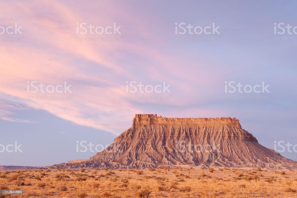Dawn at Factory Butte, Utah stock photo