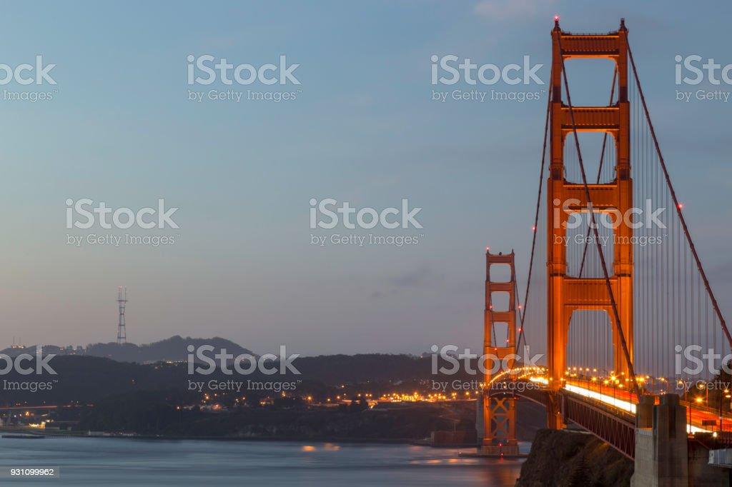 Golden Gate Köprüsü şafakta. - Royalty-free ABD Stok görsel