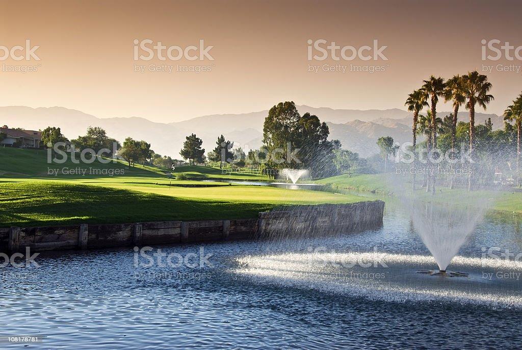 Dawn at Golf Resort stock photo