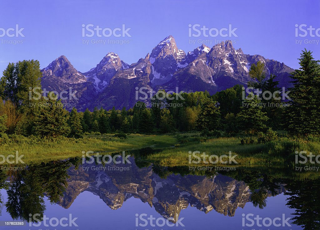 Dawn At Grand Teton National Park stock photo