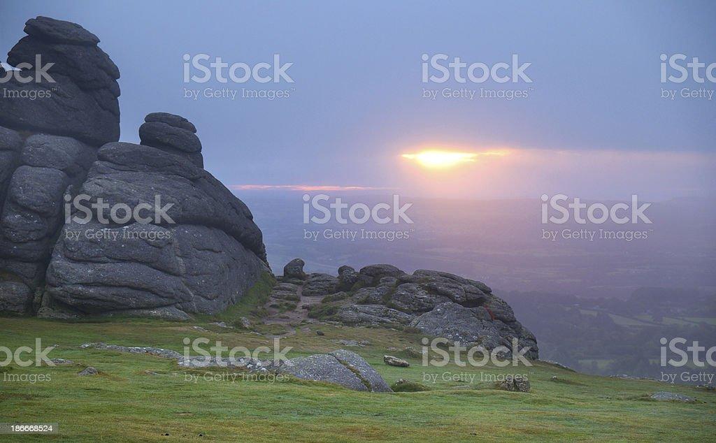 Dawn At Haytor Rocks In Dartmoor, Devon royalty-free stock photo