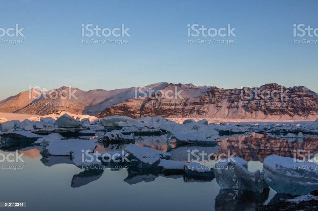 Dawn at Jökulsárlón Glacier Lagoon, Iceland stock photo