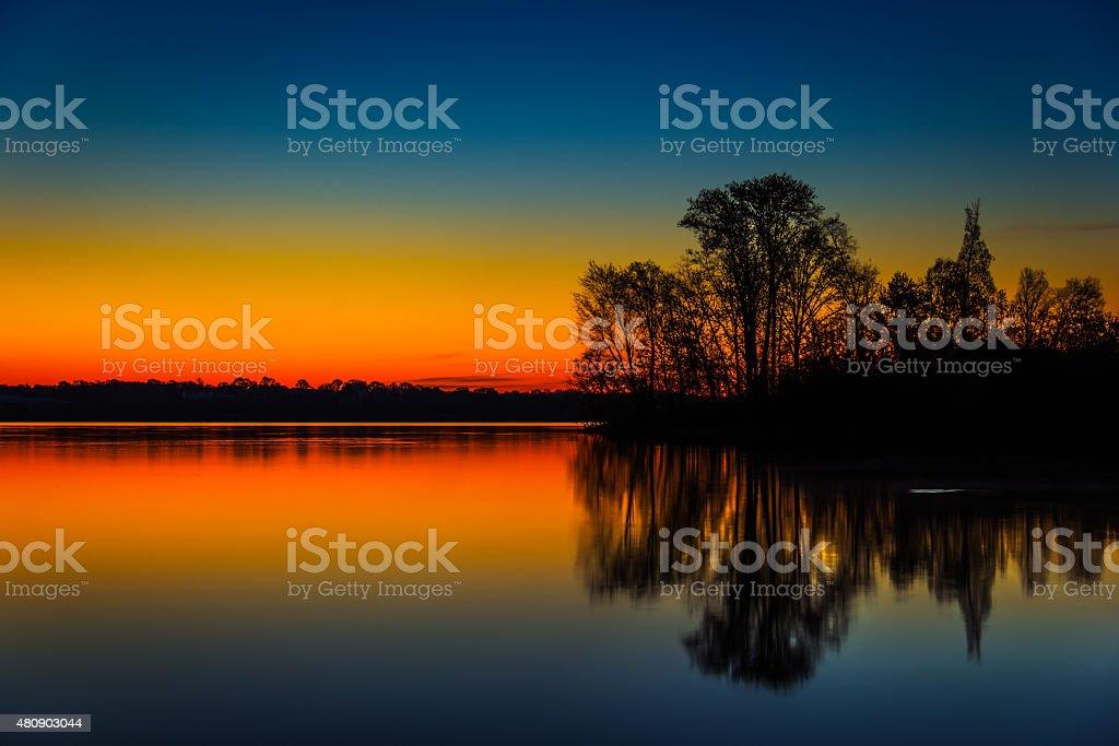 Dawn at Lake Horizontal Close stock photo