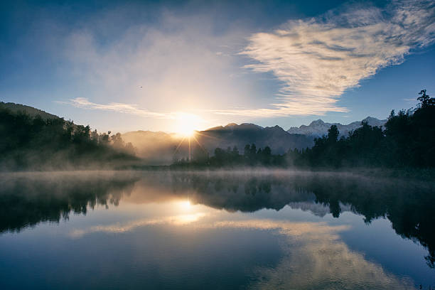 Dawn At Lake Matheson stock photo