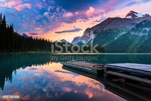 Early morning from the shore of Fisherman's Bay Campground on Maligne Lake, in the Canadian Rockies. This wilderness campground is only accessible by canoe or kayak and is situated in one of North America's most pristine landscapes.