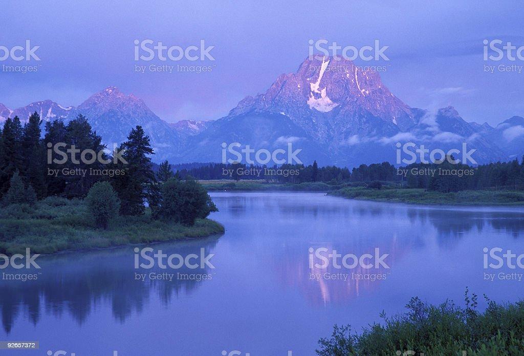 Dawn at Oxbow Bend, Grand Teton royalty-free stock photo