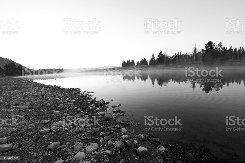 Dawn at Oxbow Bend in Jackson Hole Wyoming royalty-free stock photo