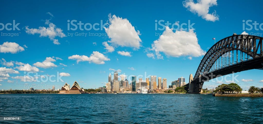 Dawn At Sydney Harbour Bridge stock photo