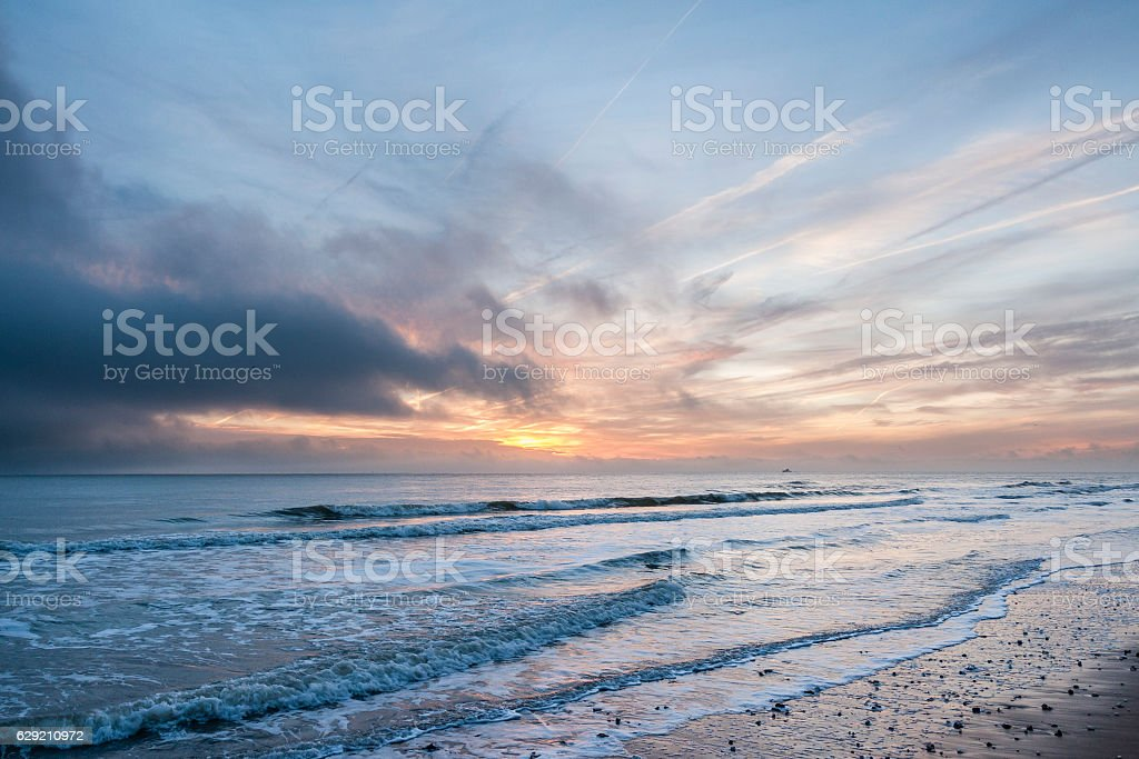 Dawn at Thanet's Coast in Kent, England stock photo