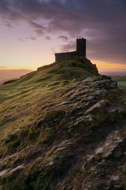 Dawn At The Church At Brentor, Dartmoor stock photo