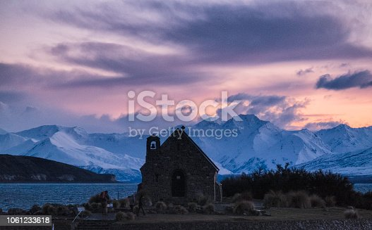 A spectacular dawn breaks over the Church of the Good Shepherd at Lake Tekapo, on New Zealand's South Island.