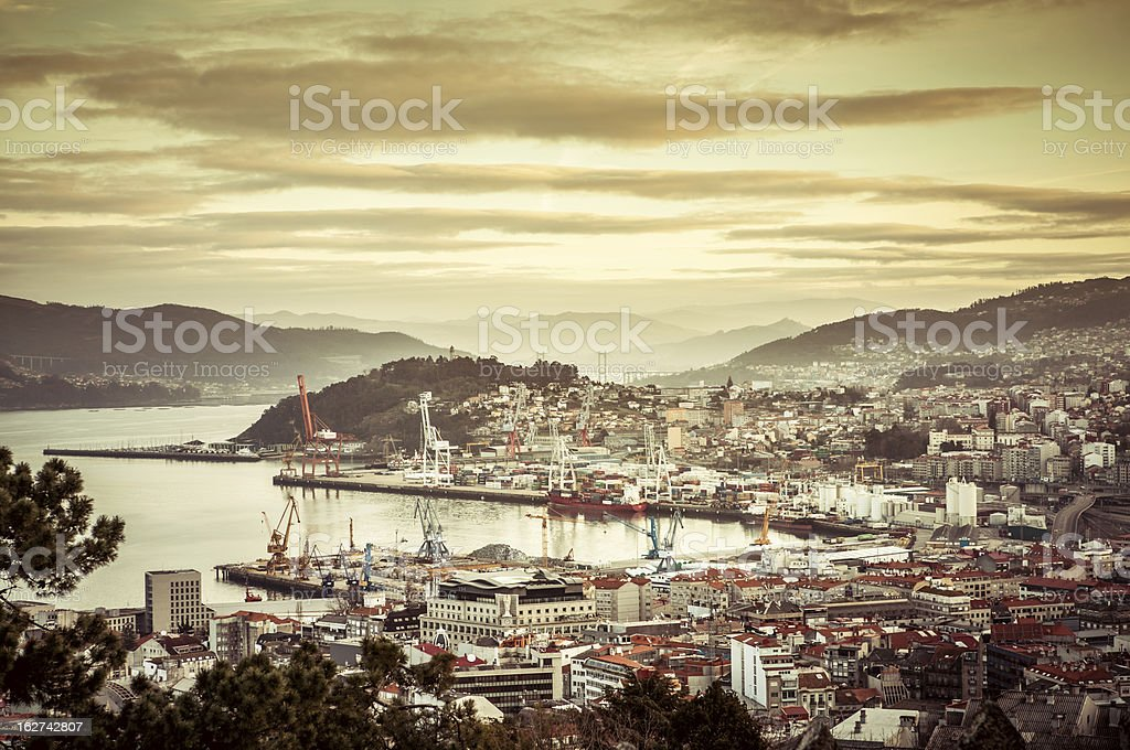 Dawn at the Harbor of Vigo, Spain stock photo