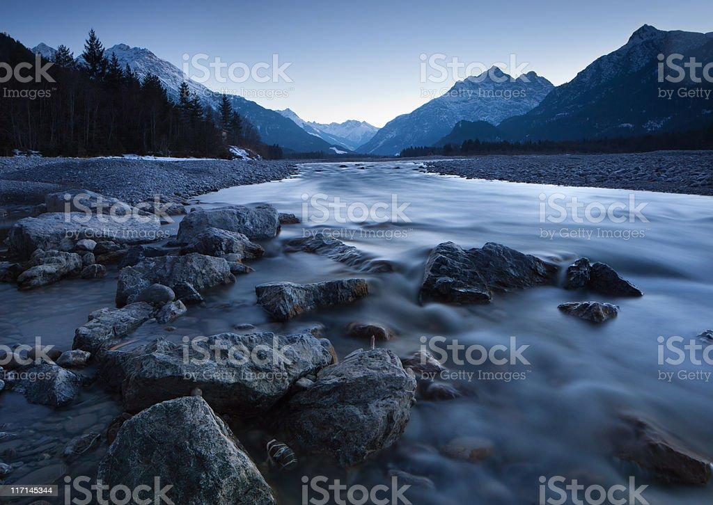 dawn at the lech river near forchach, tirol, austria stock photo