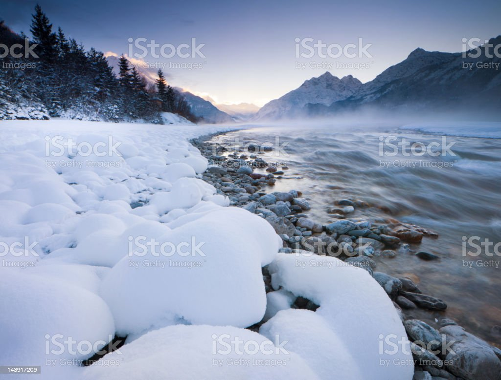 dawn at the lech river near forchach, tirol, austria royalty-free stock photo
