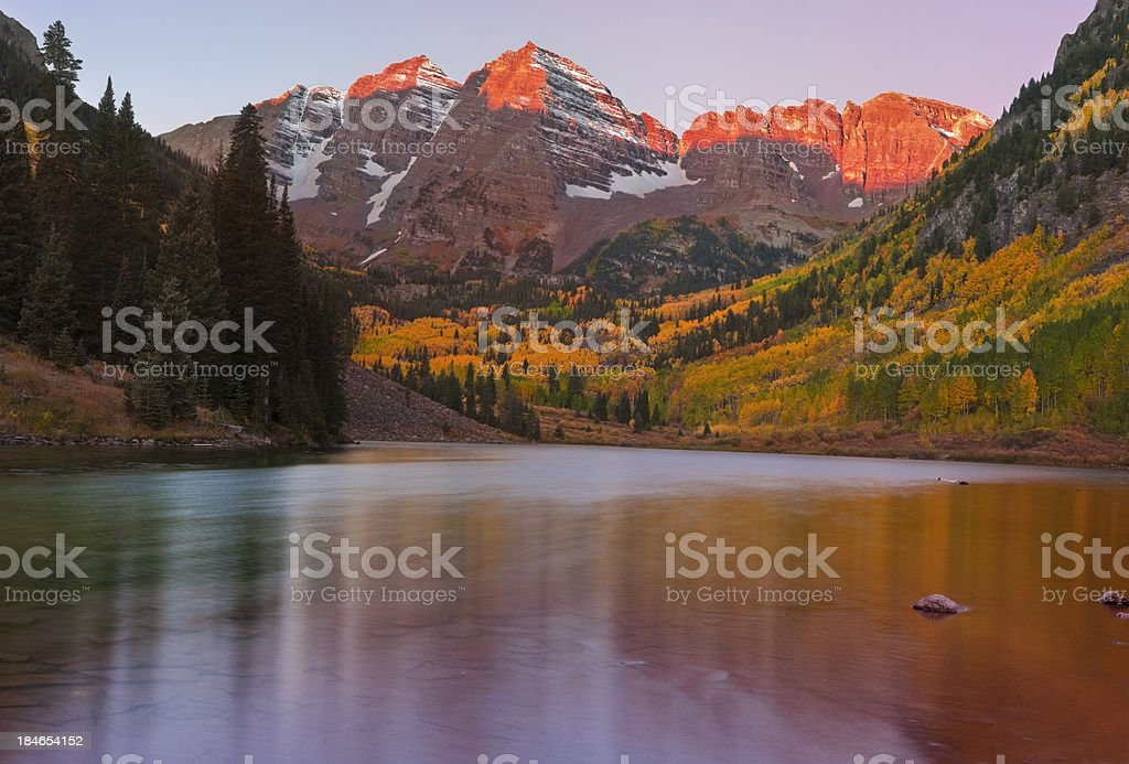 Dawn at the Maroon Bells in Fall Panorama royalty-free stock photo