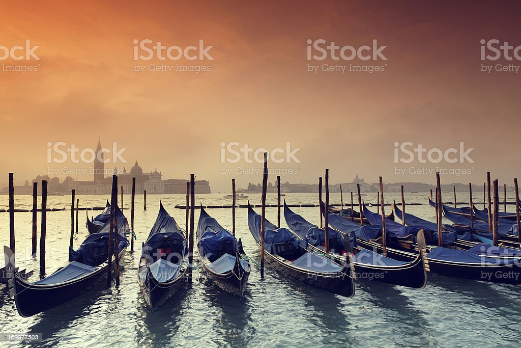 Dawn at the Venetian Lagoon royalty-free stock photo