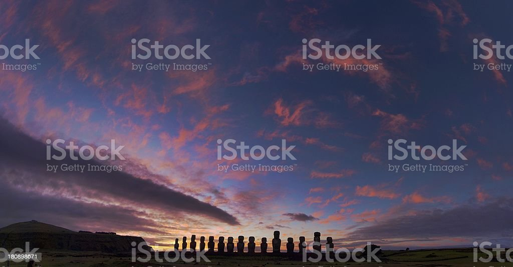 Dawn at Tongariki stock photo