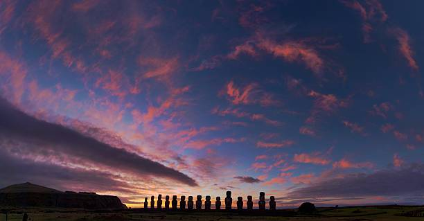 Dawn at Tongariki stock photo