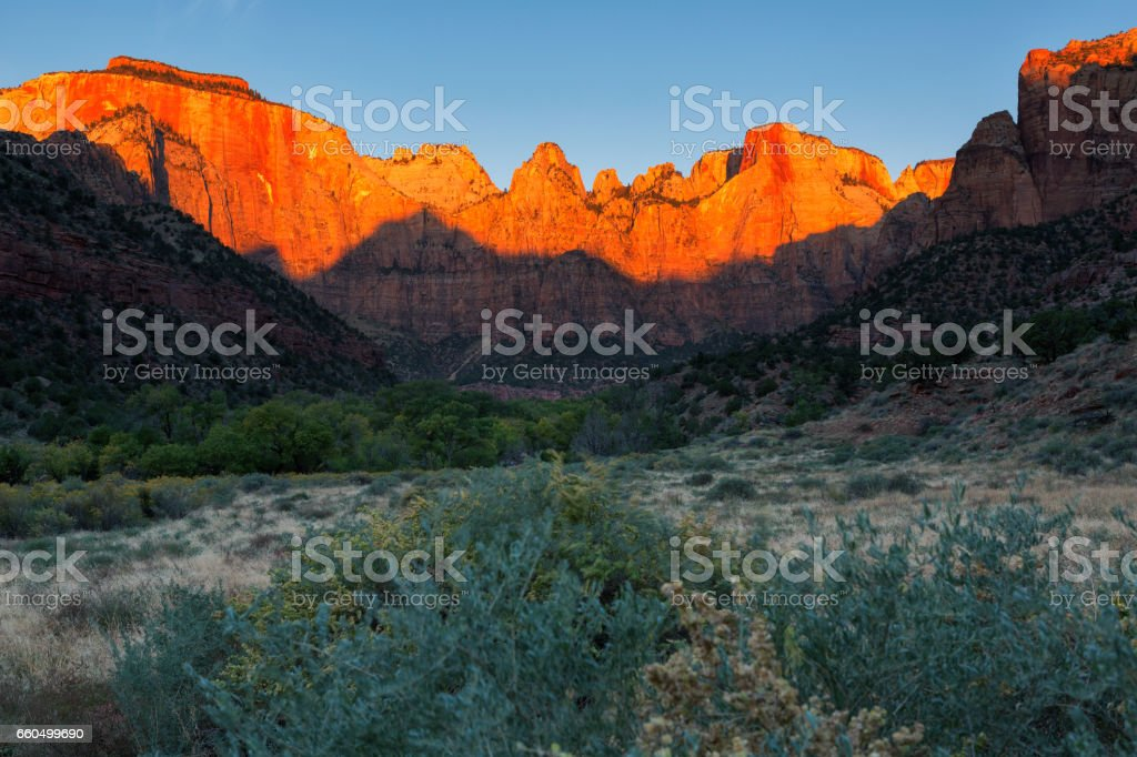 Dawn at Towers of the Virgin, Zion National Park, Utah stock photo