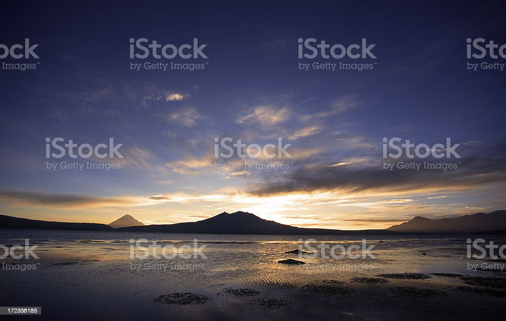 Dawn at volcano lake royalty-free stock photo