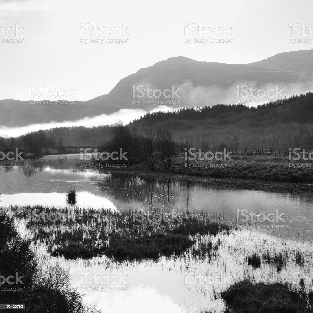 Dawn Below Loch Cluanie stock photo
