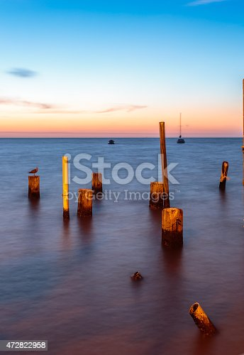 Colorful Sunrise over the water at Cedar Key Florida