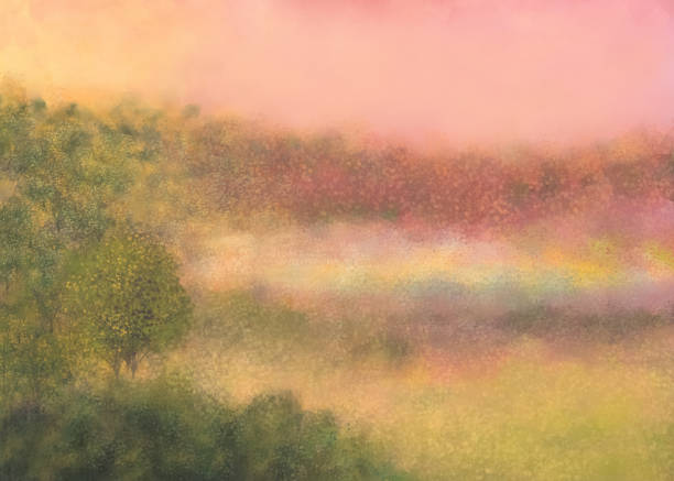 dawn breaks in my dreams' land - impressionist painting stock photos and pictures