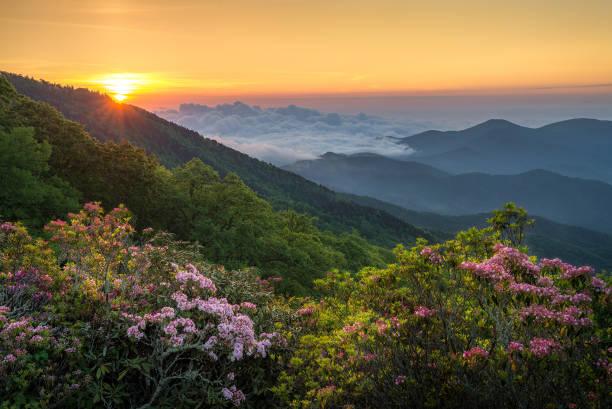 Dawn breaks over the Blue Ridge Mountains stock photo