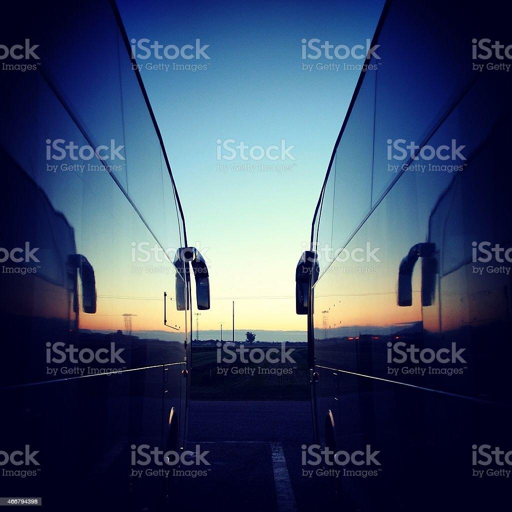 Dawn coach trip stock photo