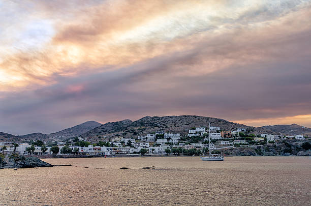 Dawn colors over Finikas village in Syros island, Cyclades, Greece stock photo