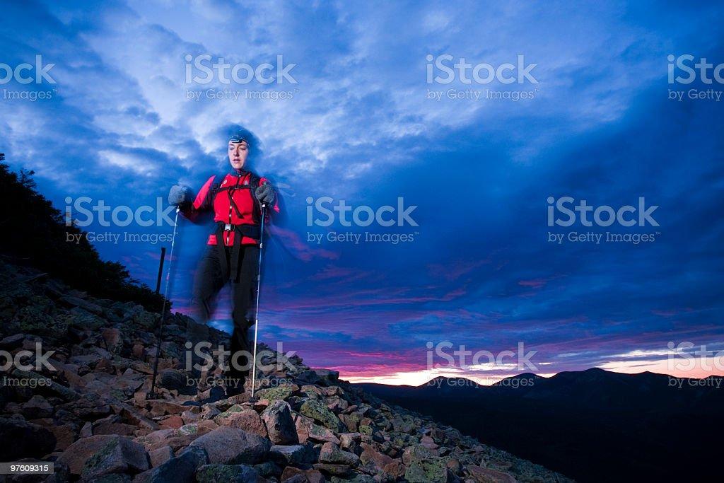 Dawn hike on the mountain. royalty-free stock photo