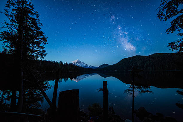 Dawn Hour Star Burst Glimmer of milky way appear near Mt Hood and reflecting off of Lost Lake during blue hour. hood river valley stock pictures, royalty-free photos & images