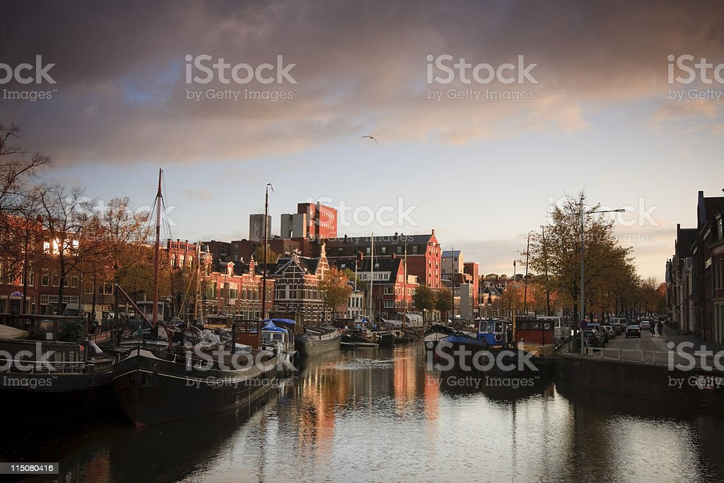 Dawn in city harbour stock photo