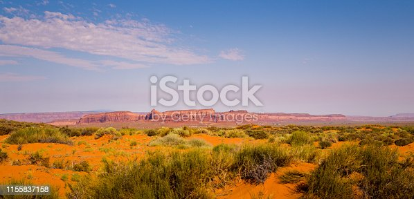 Summer trip to southwest usa, Monument Valley in Utah and Arizona. Desert landscape and rocks collapsing under the sun