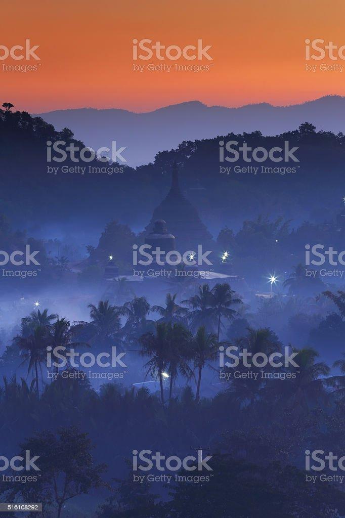 Dawn in Mrauk-U, Myanmar stock photo
