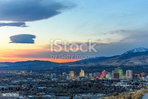 Beautiful morning view of Reno Nevada USA