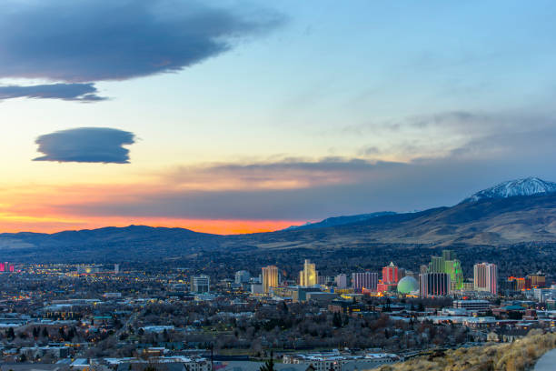 Dawn in Reno, Nevada Beautiful morning view of Reno Nevada USA nevada stock pictures, royalty-free photos & images