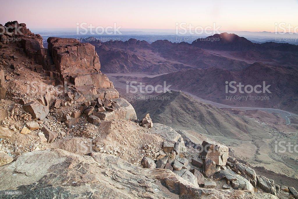 Dawn in Sinai Mountains stock photo