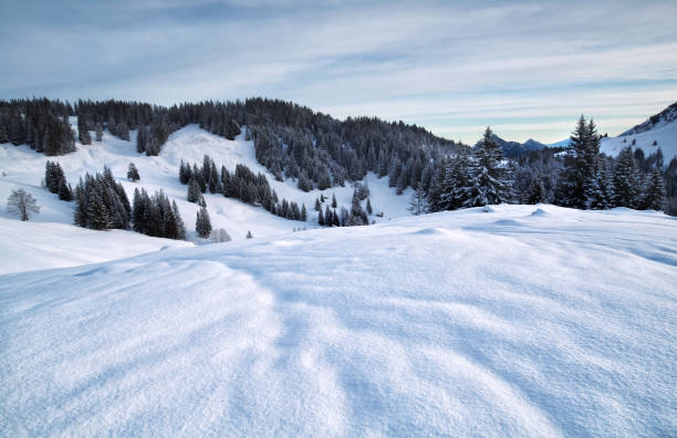 morgendämmerung in verschneite berge, alpen, deutschland - allgäu stock-fotos und bilder