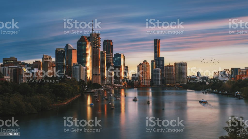 Dawn in the Brisbane City from Kangaroo Point stock photo