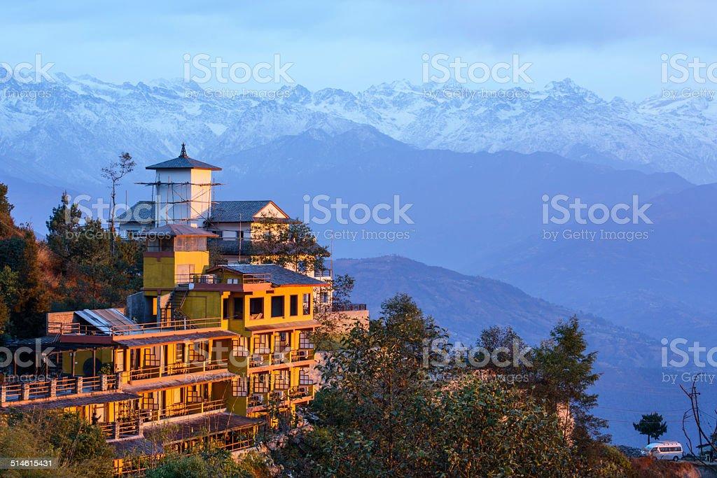 Dawn in the Himalaya stock photo