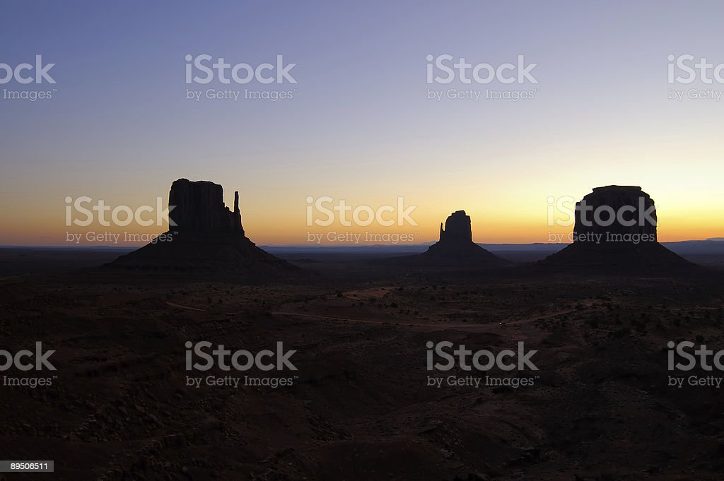 Dawn in the Monument Valley - Mittens royalty-free stock photo