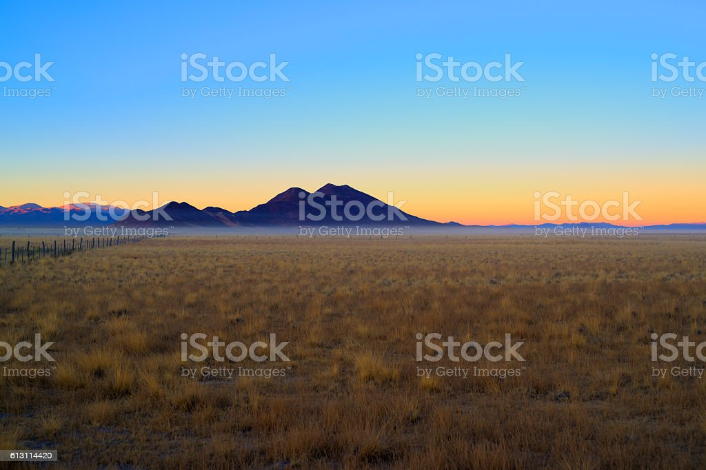 Dawn in the mountains of Casabindo stock photo