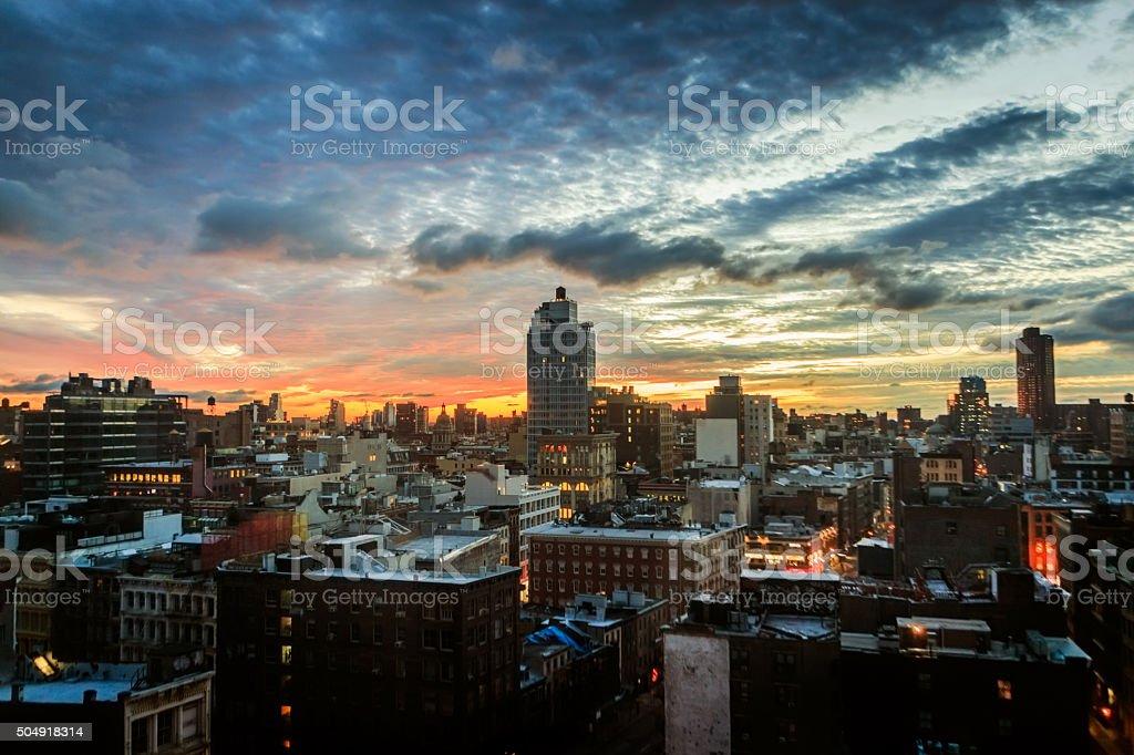 Dawn in Tribeca New York stock photo
