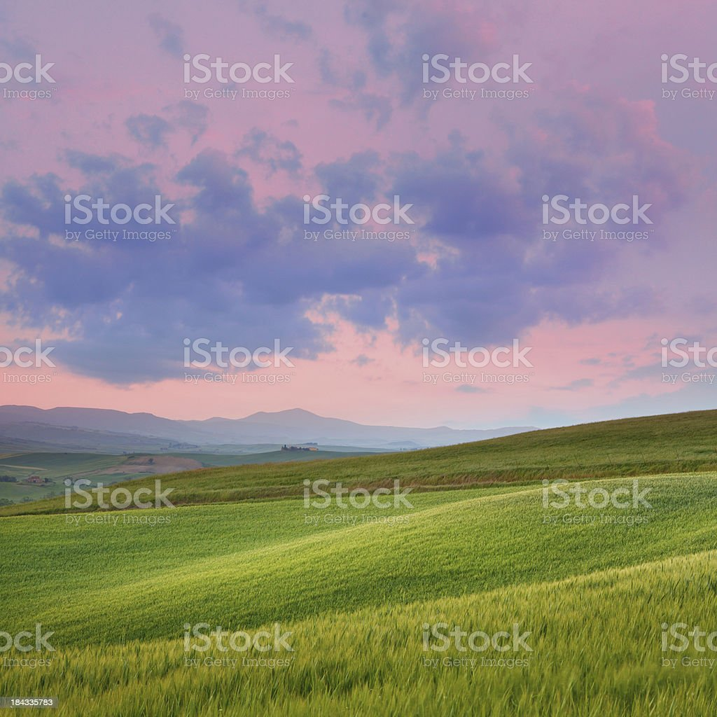 Dawn in Tuscany royalty-free stock photo