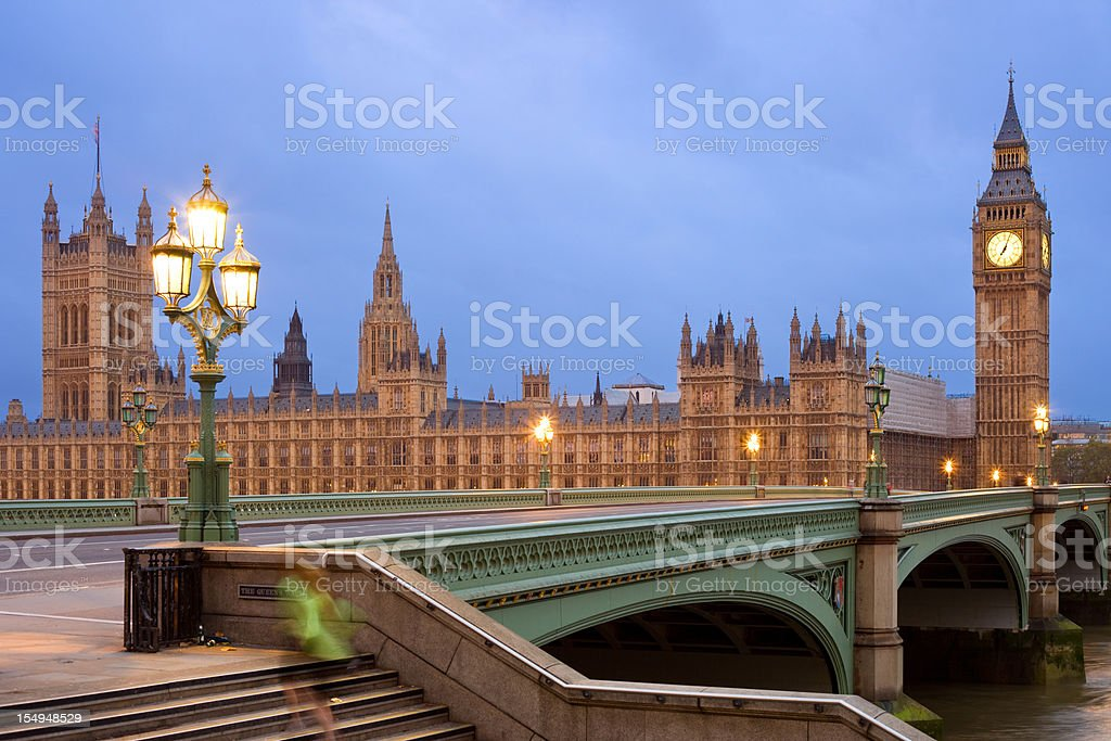 Dawn Jogger at the Houses of Parliament in London England royalty-free stock photo