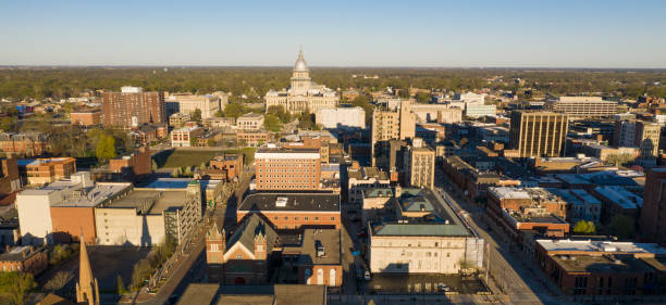 Dawn Light Hits Downtown State Capitol Building Sprigfield Illinois stock photo